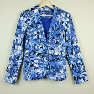 Adrianna Papell Blue water color Floral Blazer